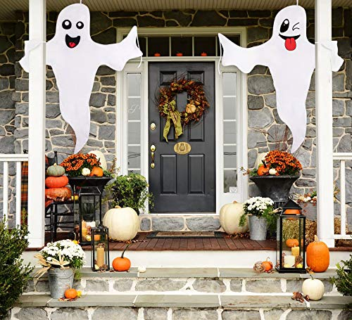 Halloween Ghost Hanging Decoration Outdoor Decor – Hallowmas Tree Hugger Friendly Spooky Party Supplies(2 Pieces)