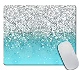 Amcove Blue Glitter Gaming Mouse Pad Custom Design,Fashion Non-Slip Rubber Square Mousepad for Gift Support Computers Laptop 9.5 X 7.9 Inch (240mmX200mmX3mm)