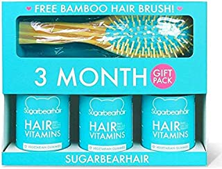 SugarBearHair, Sugar Bear Hair For Hair & Nails Growth Vitamins, 3 Bottles, 3 Month, 180 Gummies, Plus Free Bamboo Hair Brush