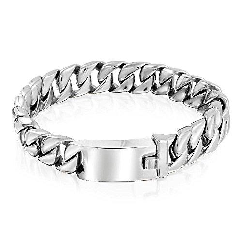 Bling Jewelry Pulsera de Cadena de bordillo Cubano Grande sólido para Hombres Pulido Plata Tono Acero Inoxidable 12mm