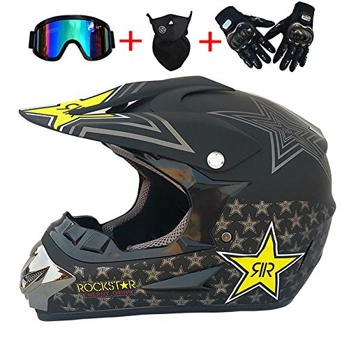 AMZ BCS Motocross Quad Crash Helm Vollgesichts Off Road ECE Downhill Dirt Bike MX ATV Erwachsener Für Harley Davidson Kawasaki Yamaha Suzuki Honda Triumph BMW Motorradhelm 4-Teiliges Set,M