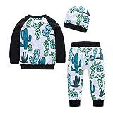 Proumy ◕ˇ∀ˇ◕Baby Jogginganzug Mädchen 3PCS Outfits SetBrief Gedruckt Kleidung Overall + Kaktus Sport Hosen + Soft Cap Outfits Set Freizeit Babyklamotten (Schwarz,24M)