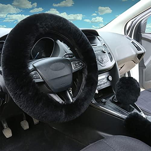 Fluffy Steering Wheel Cover for Car, 1 Set 3 Pcs Premium Wool Steering Wheel...