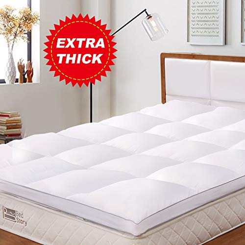 BedStory Mattress Topper Double Size, Hypoallergenic Microfiber Mattress Topper...