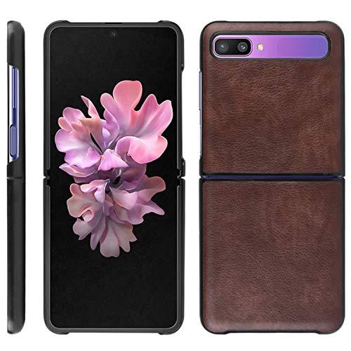 HualuBro Samsung Galaxy Z Flip Case, Retro PU Leather Ultra Slim Shockproof Back Bumper Protective Case Cover for Samsung Galaxy Z Flip Phone Case (Brown)