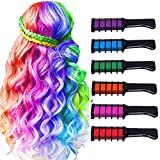 Hair Chalk for Girls,Temporary Bright Washable Hair Color for Kids, Hair Chalk Comb Gift for Girls Age 4 5 6 7 8 9 10+...
