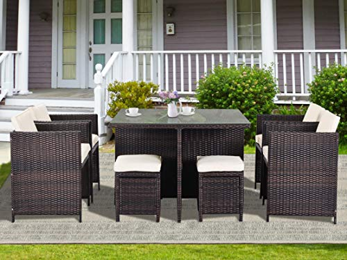 Merax 9 Piece Patio Dining Sets Outdoor Space Saving Wicker Rattan Table Furniture with Thick Cushions for Garden and Backyard, Brown