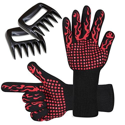 BBQ Gloves and Meat Shredder Claws Set, Heat Resistant Grilling Cooking Gloves Oven Mitts & Pulled Pork Claws, Home kitchen Accessories BBQ Tool for Outdoor and Indoor Use