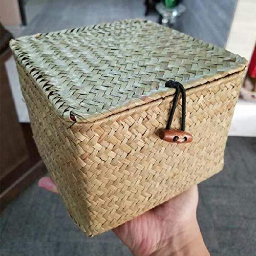 COJJ Sea grass hand woven storage box desktop finishing storage clothes towel with black button flap storage box 2