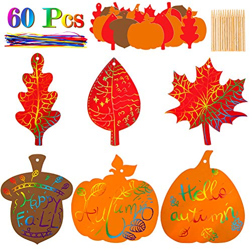 Whaline 60 Pack Fall Harvest Rainbow Scratch Art Set Colorful Scratch Paper Pumpkin Autumn Leaves Acorn Pattern with 60Pcs Ribbons...
