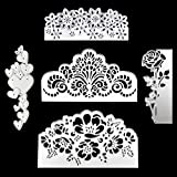 5 Pcs Metal Embossing Lace Cutting Dies, Stencils Scrapbooking Rose Flower Heart Shape Die Cuts for DIY Crafts, New Year, Wedding, Valentine's, Present Greeting Cards Albums Decoration