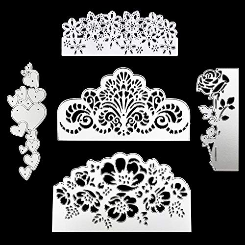 5 Pcs Metal Embossing Lace Cutting Dies, Stencils Scrapbooking Rose Flower Heart Shape Dies Cuts for DIY Crafts, New Year, Wedding, Valentine's, Present Greeting Cards Albums Decoration
