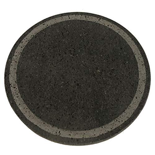 MY FRIEND SICILIA Rejilla de piedra volcánica étnica redonda de 35 cm de diámetro con ranuras, ideal para barbacoas tipo Weber o para horno Smeg