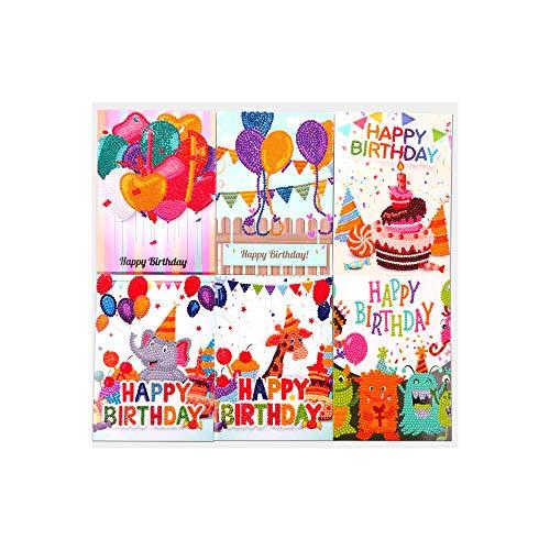 Bisofice 5D DIY Diamond Jewel Paint Tarjetas de Navidad Tarjetas de felicitación de cumpleaños de Navidad de Halloween con sobres y herramientas Art Craft Regalo hecho a mano, 6 piezas