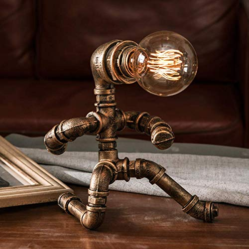 Lámpara de mesa Steampunk 1 Lámpara de mesa de pipa de agua antiguaI Diseño industrial I lámpara retro I Bronce I metal I IE27 I sin bombilla [Clase de eficiencia energética A++]