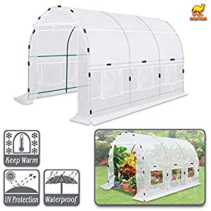 Strong Camel Portable Greenhouse Large Walk-in Plants Garden Hot House w/Combined Cover-White (12' X7'X7')
