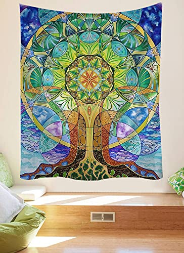 KHKJ Psychedelic Tree TapestryMandala Wall Hanging Macrame Hippie Tapestries for Living Room Home Decor A9 200x180cm