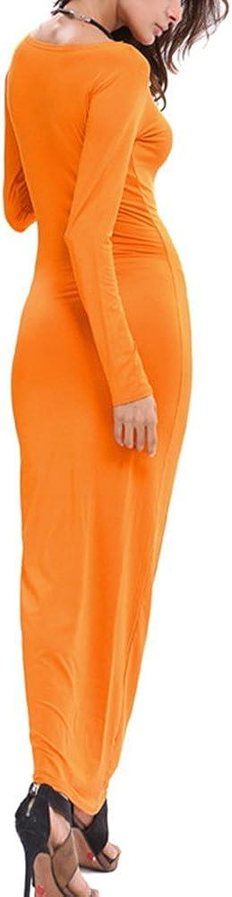 Abbigliamento Casual Donna Maniche Lunghe Abito Aderente con Scollo A Barchetta