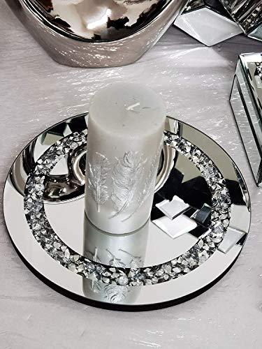 Plato de cristal de espejo con diamantes, un elegante complemento para tu hogar, el mejor regalo