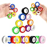 MBOUTrising 9Pcs Magnetic Ring Fidget Spinner Toys Pack, Colorful Fingers Magnet Rings, Stress Relief Magical Toys for Training Relieves Autism Anxiety, Great Gift for Adults Teens Kids