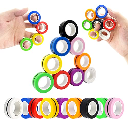 MBOUTrising 9Pcs Magnetic Ring Fidget Spinner Toys Pack, Colorful Fingers Magnet Rings, Stress...