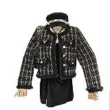 Zzalo jackets Damas estilo tweed mujeres chaqueta corta mujer otoño elegante chaqueta femenina moda chaqueta mujer arriba (Color : Black, Size : M)