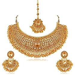 Bridal & Wedding Party Jewelry Goldplated Designer 4pcs Necklace Set Ethnic Traditional Women Wedding Jewellery Demand Exceeding Supply
