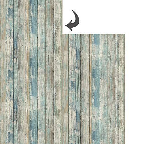 Hode Selbstklebende Folie Holz entfernbare Tapeten Wand und Möbel Dekoration Renovierung Alter Möbel Schrank, Blauen Holzoptik Folie 30X300cm