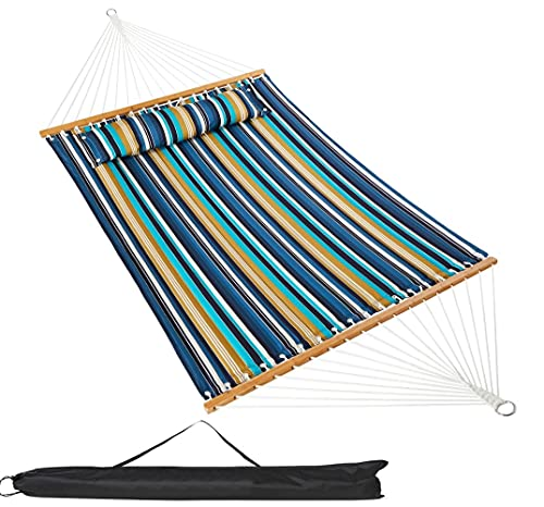 VALLEYRAY Hammock with Spreader Bars, Double Hammock with Pillow, Quilted Fabric Hammock with Wooden...