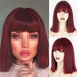 hkwshop Posticci Parrucca Rossa del Vino Dritto Lungo con i Parrucche Sintetici dei Capelli della Frangia Botto con la Parrucca per Le Donne Vino Parrucche Resistenti al Calore Rosso Parrucche Donna