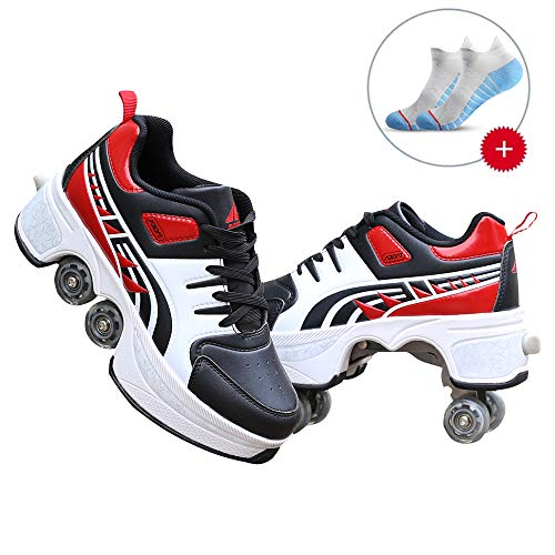 MAISDO Rollerskates Damen,Kick Rollers Schuhe Mit Doppelrädern Turnschuhen Rollschuhen Verstellbaren Schlittschuhen Und Rollerblades Inline Skates Leichten Klett-Turnschuhen,35