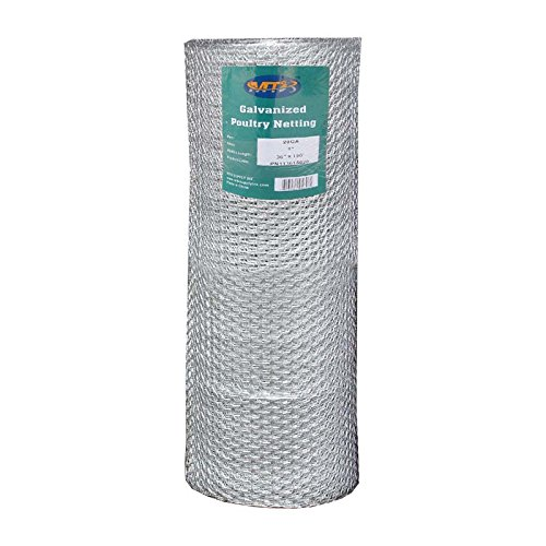 MTB 20GA Galvanized Hexagonal Poultry Netting Chicken Wire 36 inches x 150 feet x 1 inch Mesh