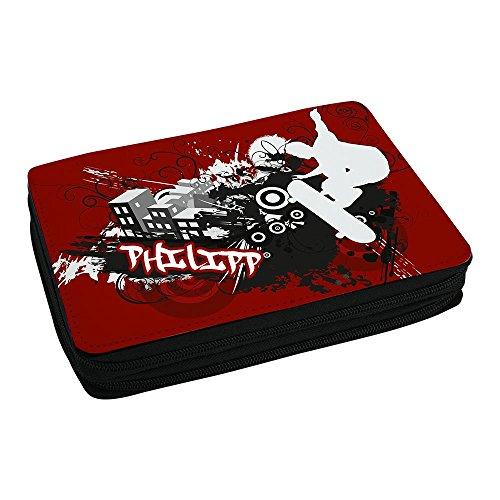 Schul-Mäppchen mit Namen Philipp und Skater-Motiv mit Skateboard und cooler Graffiti-Schrift - Federmappe mit Vornamen - inkl. Stifte, Lineal, Radierer, Spitzer