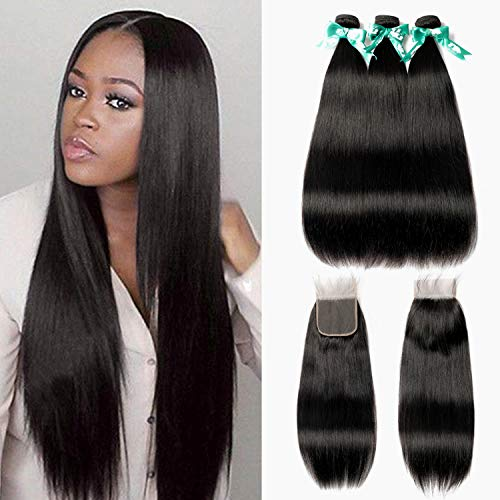 MQYQ Hair Brazilian Straight 3 Bundles with Closure (18/20/22+16Inch)100% Unprocessed Human Hair 4×4 Lace Frontal Closure Hair Extensions Natural Black Color
