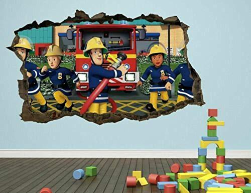 Pegatinas de pared Calcomanías de pared de bombero pegatinas mural decoración del hogar para dormitorio Art Kids80*120CM