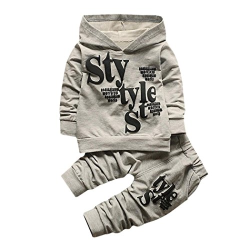 Kobay Kleinkind Baby Boy Style Brief Drucken Hood Tops Muster Hosen 2 STÜCKE Set Kleidung (80/1.5Jahr, Grau)