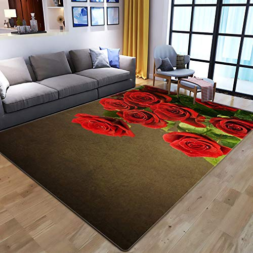 Tapis,Tapis Shaggy Moderne 3D Rouge Fleurissant Rose Zone d