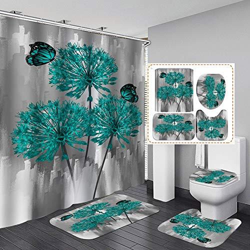 4 STK. Blumenduschvorhang-Sets mit rutschfesten Teppichen, Toilettendeckel & Badematte, Rose Flower Regentropfen-Duschvorhang mit 12 Haken, wasserdichter Stoff-Duschvorhang Badezimmerdekor (F)
