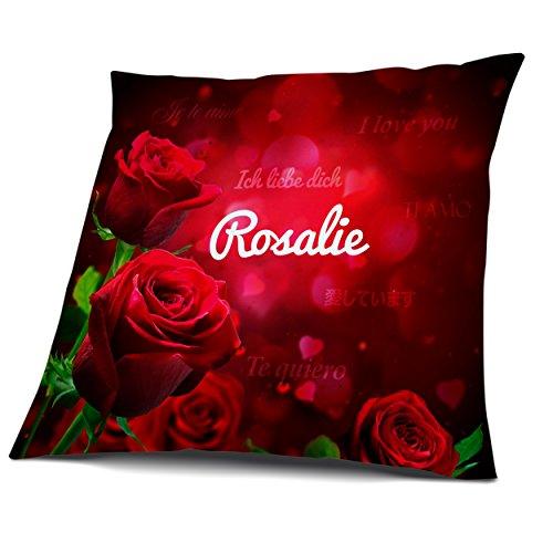 Kissen mit Füllung, Motiv Rosen mit Name Rosalie, vollflächig bedruckt 30 x 30 cm, Namenskissen, Geschenkidee