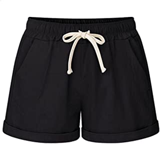 XinDao Casual Women's Cotton Drawstring Elastic WaistComfy Bermuda Hiking Linen Shorts