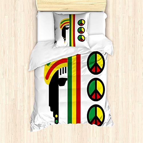 ABAKUHAUS jamaicano Funda Nórdica, Minimalista Rastaman, Decorativo 2 Piezas con 1 Funda de...