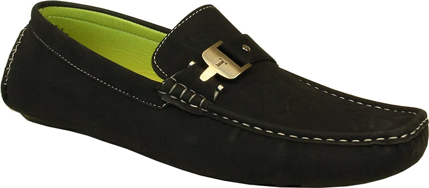 Cgoldnado Men Casual shoes MOC-5 Driving Moccasin with Stitched Toe and Buckle Details Black 9M