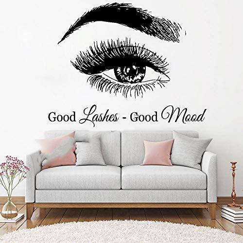 stickers muraux citations en francais Good Lashes Good Mood Cils yeux Beaux sourcils Sourcils Salon de beauté Citation Maquillage Intérieur