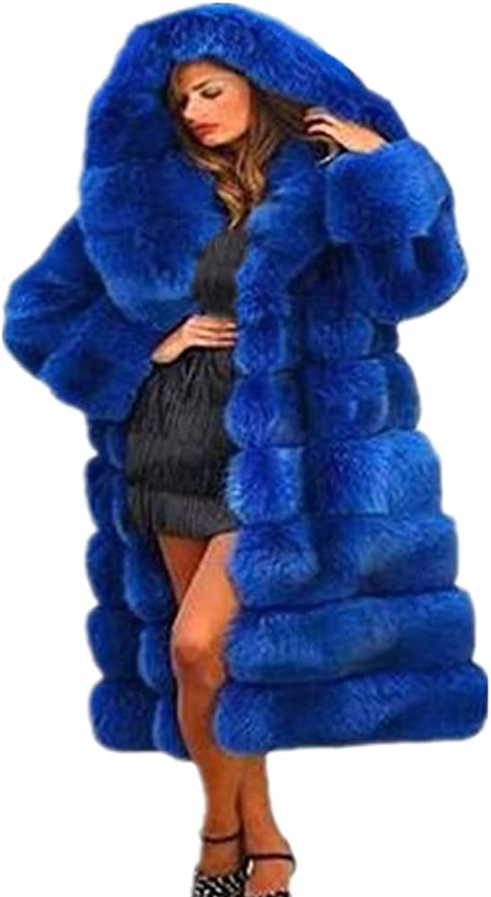 Womens Winter Plus Size Thick Faux Fur Coat Long Sleeve Big Hooded Parka Overcoat Jacket