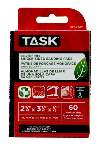 Fantastic Prices! Task Tools SP64262 Solvent-Free ECO Single-Sided Sanding Pads, 60 Grit, 3-Pack