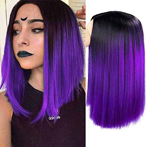 HANNE Ombre Black to Purple Bob Wig Shoulder Length Bob Hair Short Straight Bob Wigs for Women (Ombre Purple)