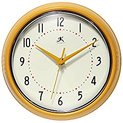 Retro 9 inch Silent Sweep Non-Ticking Mid Century Modern Kitchen Diner Wall Clock Quartz Movement Retro Wall Clock Decorative (Saffron Yellow)