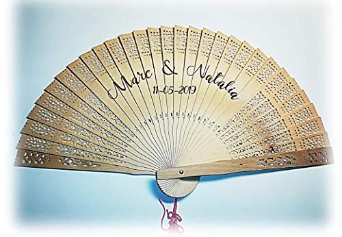 Abanico de madera de bambú personalizado. Regalo para bodas/comuniones/aniversarios