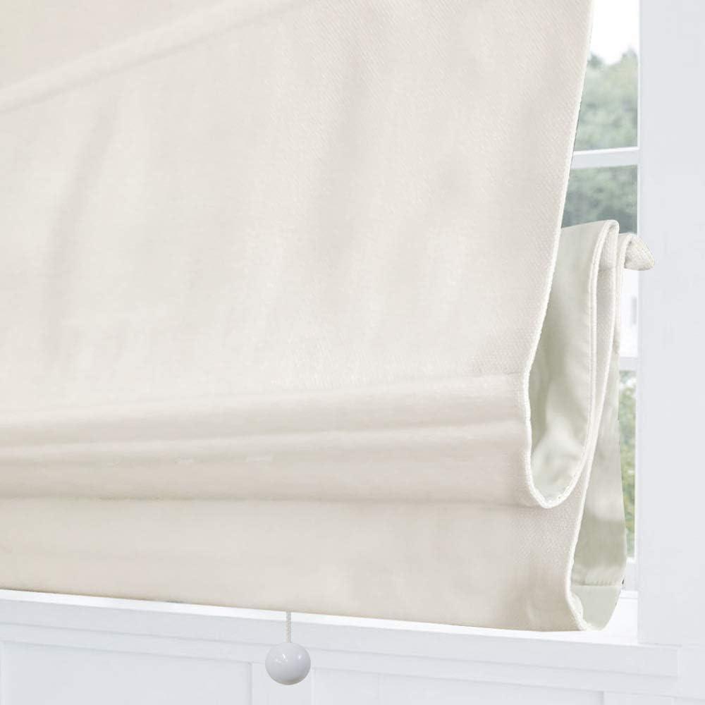 Cordless Roman Shades Window Blinds, White Premium Blackout Roman Window Shades, Custom Washable Fabric Roman Shades for Windows, Doors, French Doors, Kitchen Windows (1 Piece)