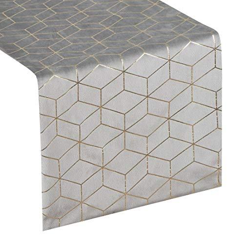 Eurofirany tafelkleed, tafelloper, fluweel, geometrisch patroon, tafeldecoratie, tafelkleed, tafelkleed, fluweel, elegant, 1 stuks, zilver, 35 x 140 cm